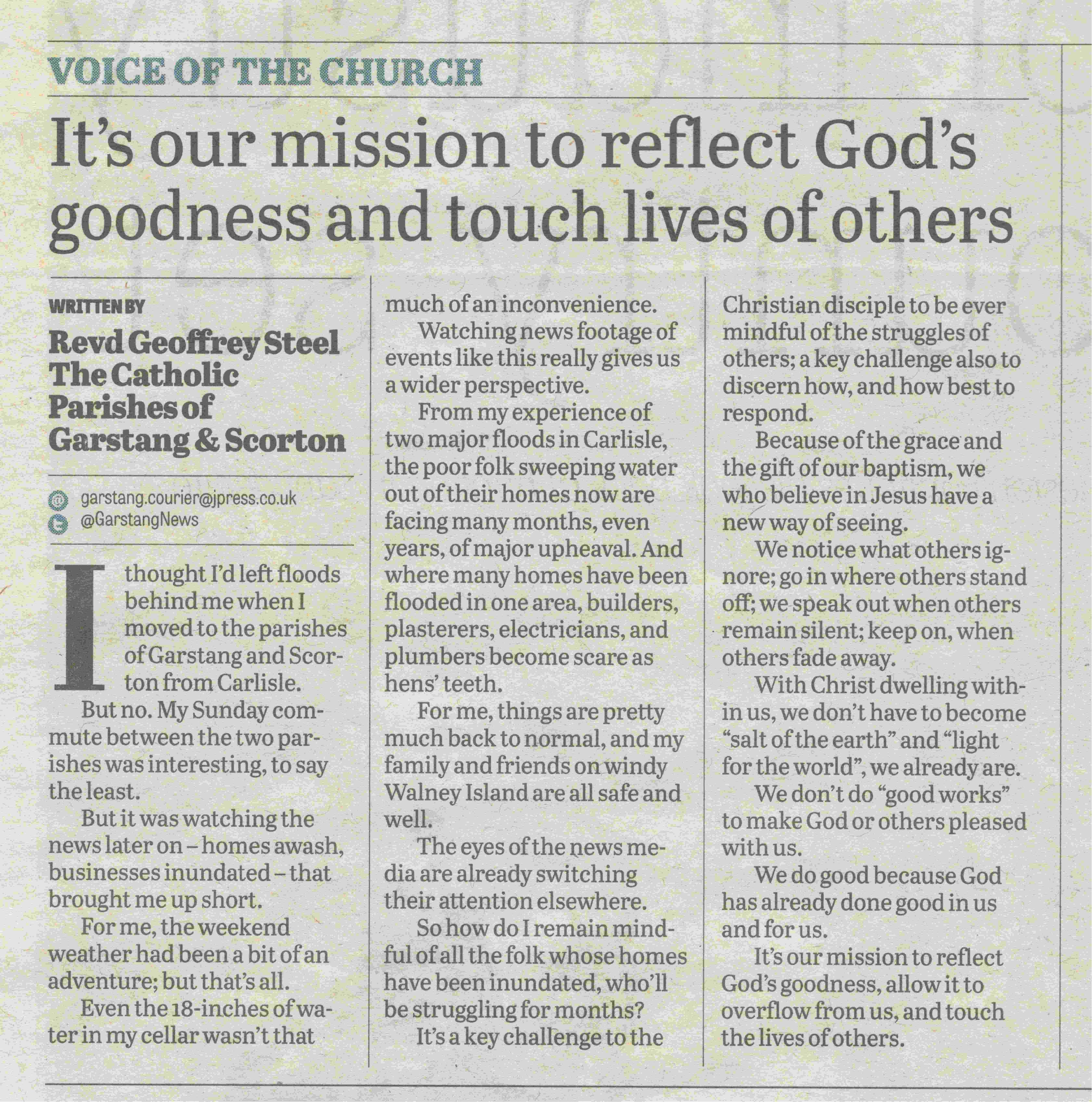 Reflect God's goodness and touch lives of others